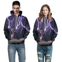 Couple Hoodies Men Women 3D Printed Cat Lightning Sweatshirt With Hat 2017 Autumn Winter New Arrival