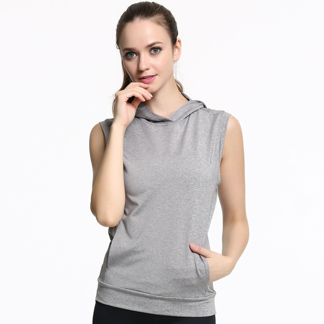 b1c41375cd JLZLSHONGLE Women s Hooded Sleeveless Tops Casual Sporting Fitness Tank  Tops Gray Black Workout Clothes Regata Feminina DropShip