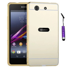 Luxury Gold Plating Armor Aluminum Frame + Mirror Acrylic Back Cover Case For Sony Xperia Z1 Mini Compact Set Hot Phone Bag