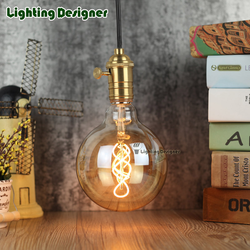 G125 led edison bulb spiral dimmable light amber retro saving lamp vintage filament bubble ball bulb E27 led light 4W 110V 220V vintage edison bulb led e27 e14 lamp filament light vintage led bulb lamp 220v retro candle light 2w 4w 6w 8w g45 g80 g95 g125