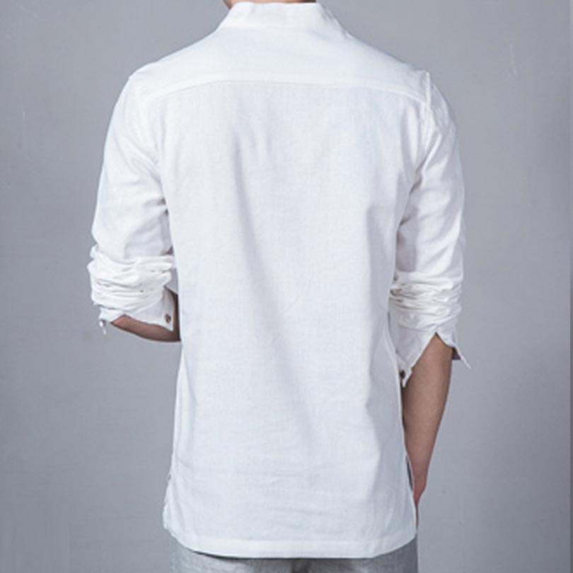 Summer casual men linen shirt long sleeve for Mens summer linen shirts