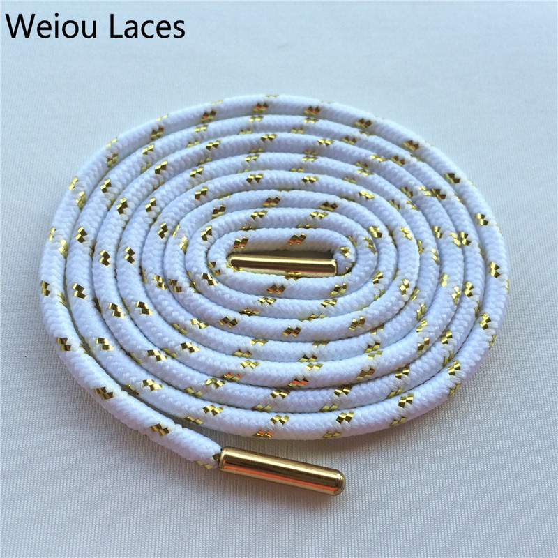 Hot Weiou Metal Tips Sports Athletic Colored Boot Laces Awesome Metallic Gold Shoelaces White Round Shoestrings Trainer Laces