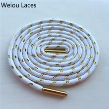 Weiou Спорт цветные шнурки ботинка металлическое золото шнурки белые круглые laces125cm трейнер/49