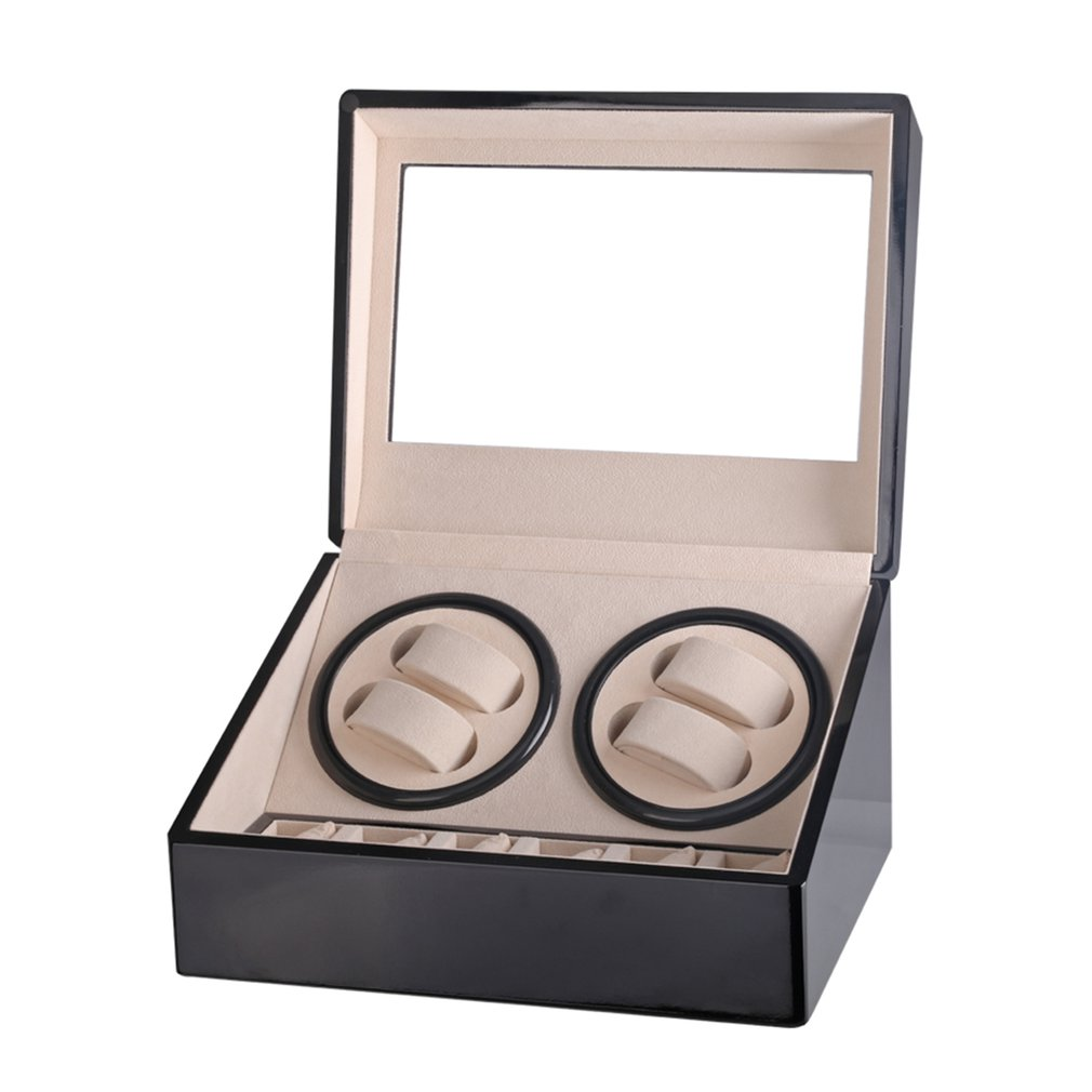 EU Automatic Mechanical Watch Winders Storage Box Case Holder 4+6 Collection Watch Display Jewelry Winder Box Black Black