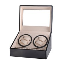 EU Automatic Mechanical Watch Winders Storage Box Case Holder 4+6 Collection Watch Display Jewelry Winder Box Black Black black out watch box
