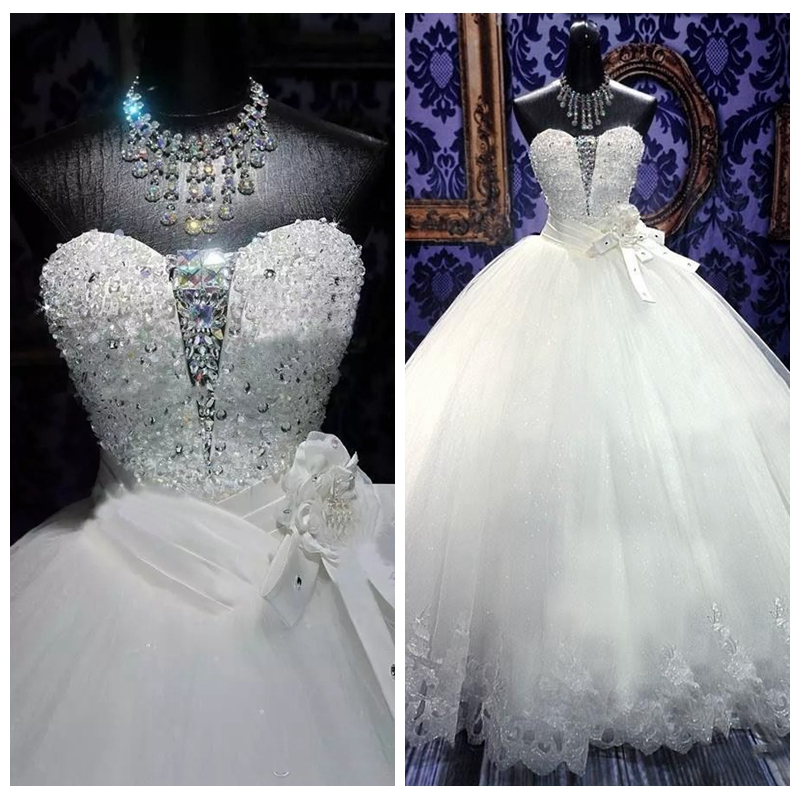 2019 Sweetheart Lace Appliques Beading Wedding Dresses Lace Up Back Bridal Gowns Handmade Flowers Vestidos De Marriage Custom