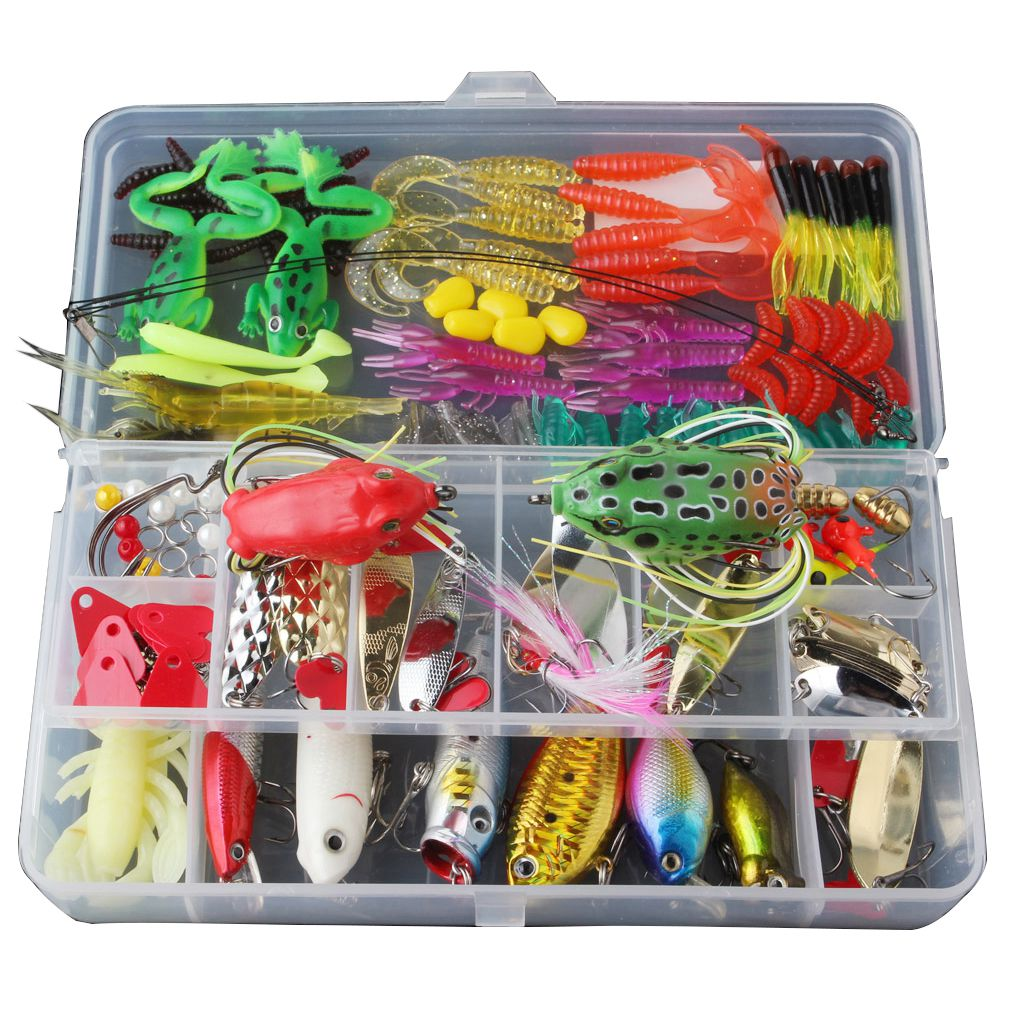 Fishing Lure Set with Tackle Box Including Plastic Soft Lures Frog Lures Spoon Lures Hard Lures Popper Crank Rattlin Trout Bas 30pcs set fishing lure kit hard spoon metal frog minnow jig head fishing artificial baits tackle accessories