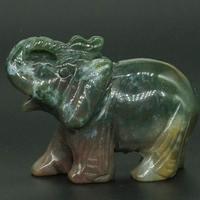 3 zoll Natürliche Indien Achat Kristall Elefanten Geschnitzt Figurine Stein Chakra Healing Reiki Stein Feng Shui Handwerk-in Statuen & Skulpturen aus Heim und Garten bei