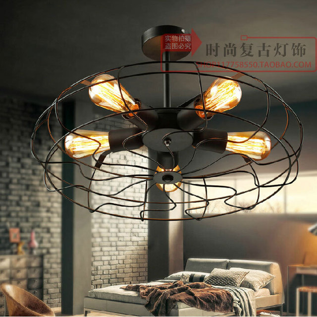 Industrial Ceiling Fans American Country Style Edison Bulb Retro