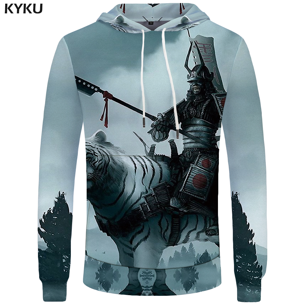 KYKU Tiger Hoodies Men Army Mens Clothing Jungle Big Size Anime Sweatshirt Hoddie Pocket 3d Hoodies Hood New Fashion Man