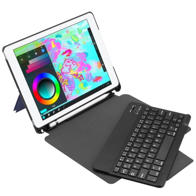 Bluetooth Keyboard Leather Protective Kickstand Cover For iPad 9.7inch 2018