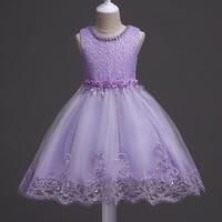 Princess Kids Dresses Girls Clothing Wedding Sash Belted Girl Dress Frock Pearl Necklace Designs Children Clothing