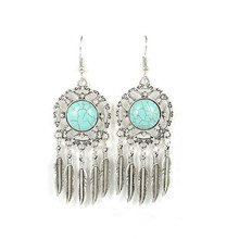 Ethnic Bohemia Tibetan Silver Indian Earrings For Women Dream catcher Hollow Out Vintage Leaf Feather Statement Drop Earring