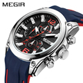 MEGIR, спортивные часы, мужские, синие, силиконовый хронограф, кварцевые, мужские часы, люксовый бренд, наручные часы, Relogio Masculino, Reloj Hombre