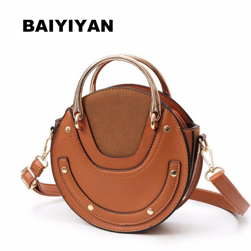 Fashion PU Leather Metal Handle Circular Bag Small Round Package Shoulder Bag Girls Crossbody Tote messenger bags
