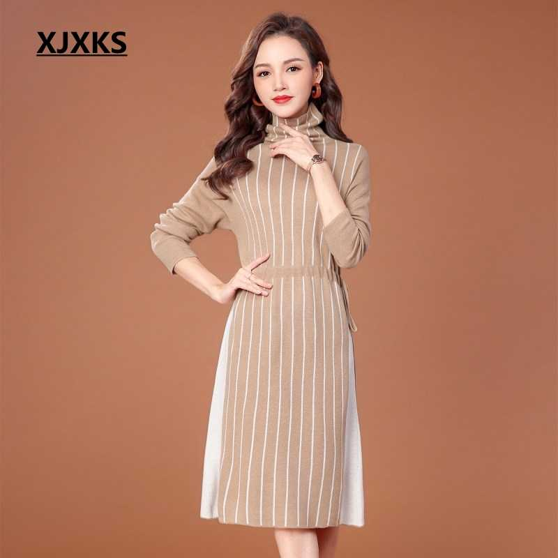 086d3103d92 XJXKS women clothes 2018 wool and cahmere knitting streetwear turtleneck sweater  dress striped loose high-