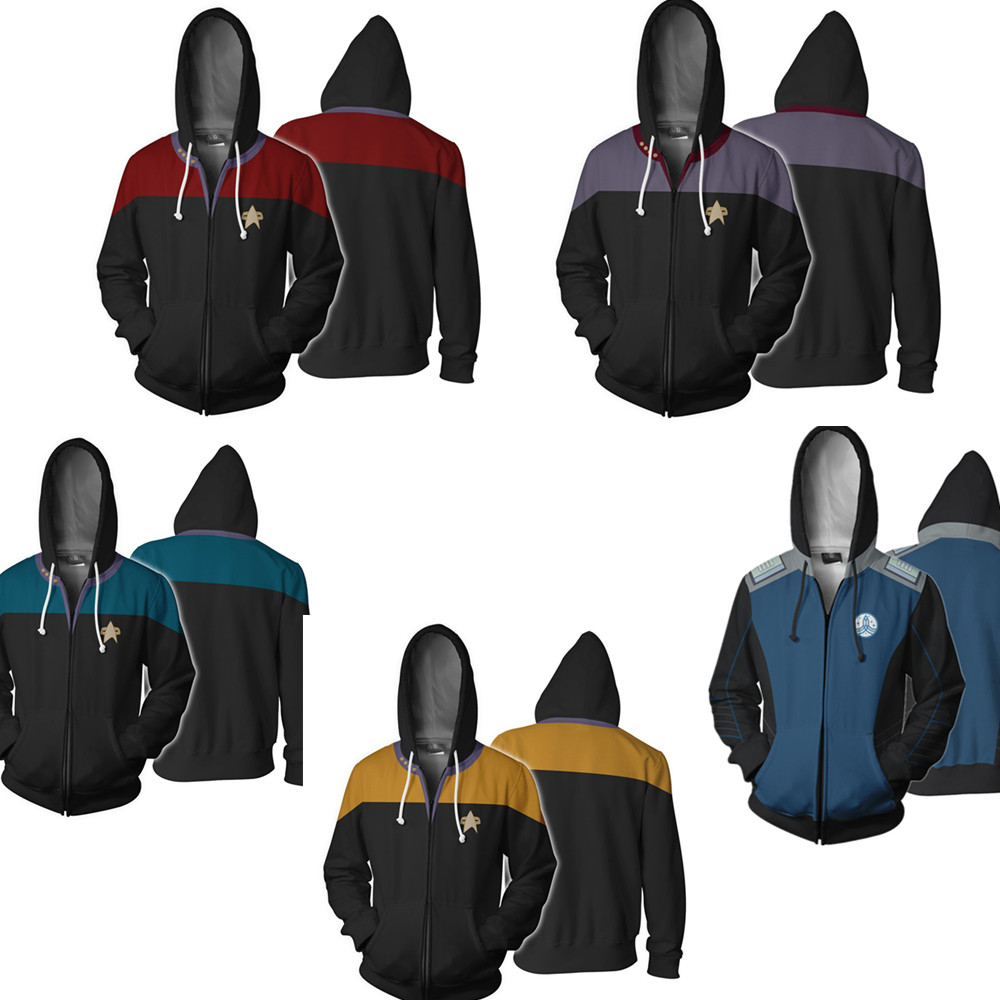 Fashion Star Trek Cosplay Full Zip Mens Womens Hoodies Tops Cool Pullover Thin Funny Coat Jacket Unisex Jumper Sweatshirt image