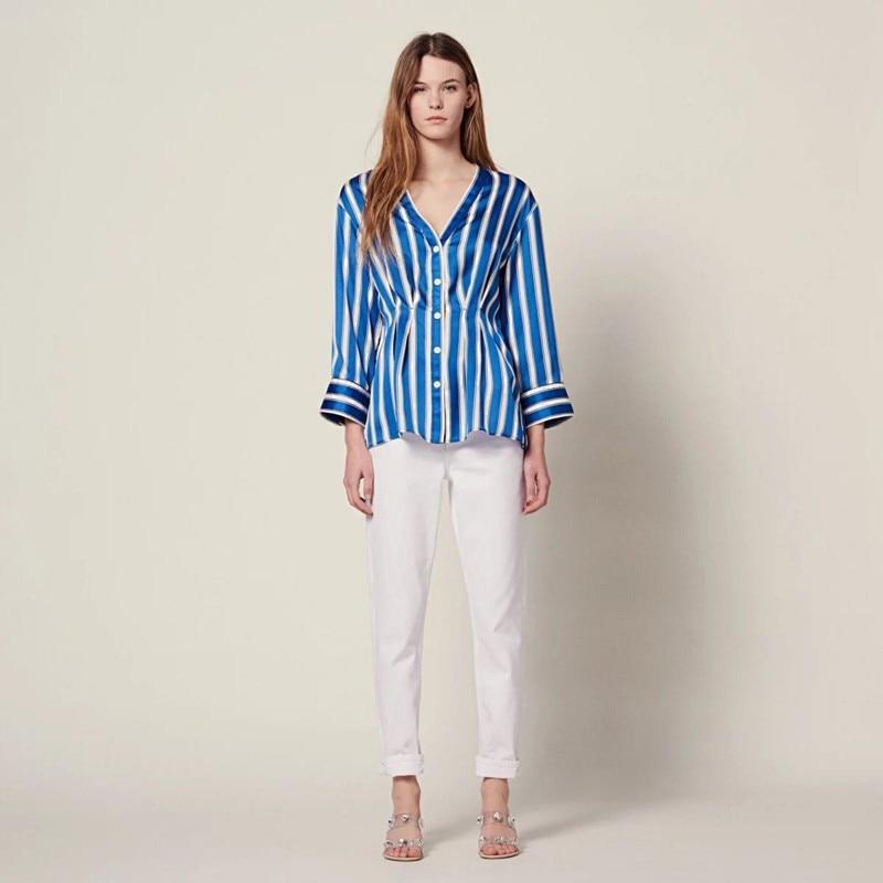 2019 New Women V Neck Long Sleeve Striped Blouse Slim Top