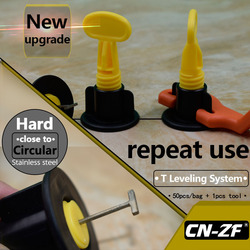 CN-ZF 50 sets/saco 1 pcs Nível Ferramenta Nivelador de Piso de Cerâmica Ferramentas de Construção de Parede de Plástico Plana Kits Sistema Telha de Nivelamento Para telhas
