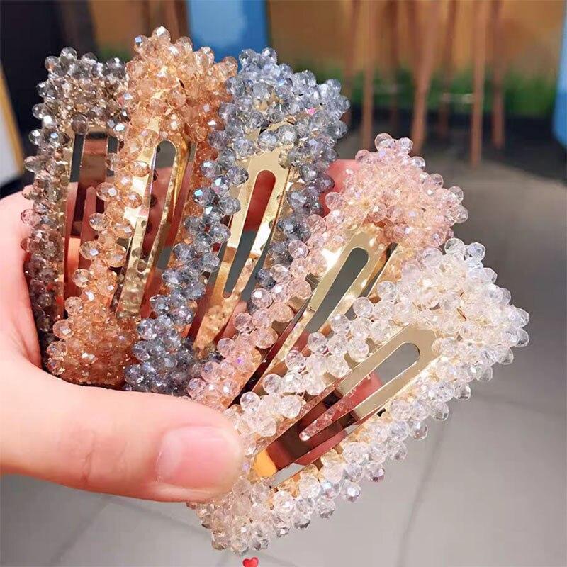 2019 модная с кристаллами и жемчугом заколки пряжки для Волос Hairgrip геометрический красный цвет заколки для волос металлические аксессуары для волос для женщин