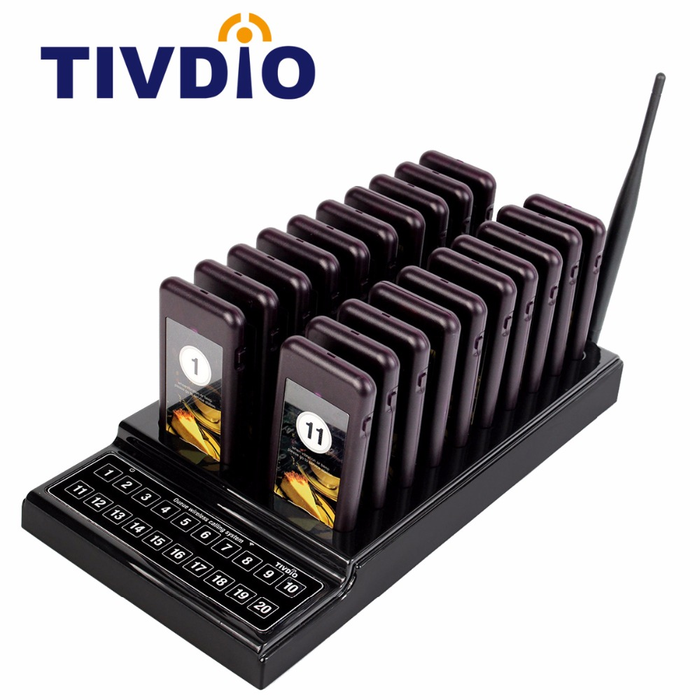 TIVDIO 20 Call Restaurant Pager Wireless Paging Queuing System Guest Call Button Rechargeable Battery Restaurant Equipment F9401 tivdio pager wireless calling system restaurant paging system 1 host display 10 table bells call button customer service f9405b