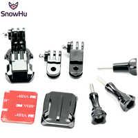 Snowhu para pivô conjunto curvo adesivo montagem lateral capacete montagem dianteira para herói 8 7 6 5 4 3 + para gopro acessórios gp64