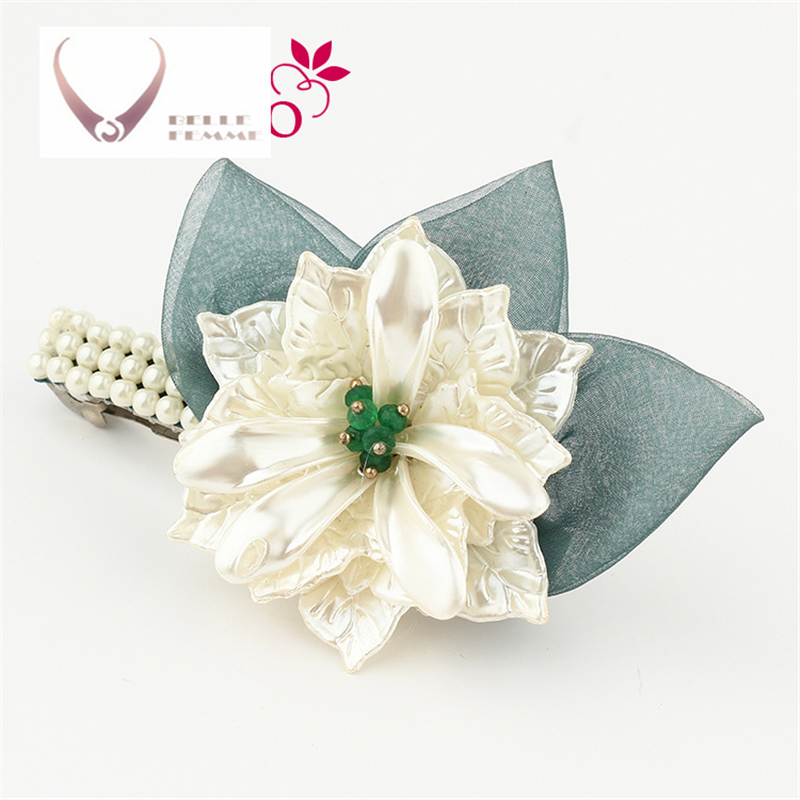 95f468c6a587d Korea Hair Accessories Flower Pearls Hair Clips For Women Crystal Hairgrips Hair  Bows Spring Hairpins Barrette 4