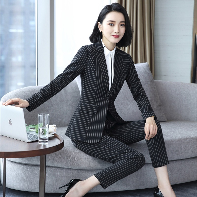 High Quality Fabric Fashion Striped Casual Blazers Suits With Tops And Pants Uniform Designs Pantsuits Ladies Pants Suits