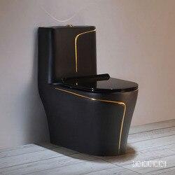 أسود المنزلية المرحاض السيراميك ضخ مقعد شخصية الإبداعية كتم لتوفير المياه الحمام سوبر الدوامة سيفون المرحاض 3.0-6.0L