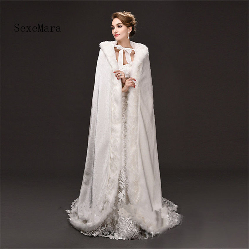 Luxury White Warm Velvet Hooded Long Winter Cloak with Hat Faux Fur Costume Poncho Custom Made Wedding Cape Useful Accessories