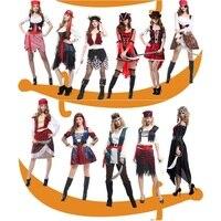 Nueva Hot Pirata de Halloween Fiesta de Carnaval Traje de Capitán Pirata Disfraces de Hombre Adulto Del Vestido de Lujo Atractivo de Las Mujeres Del Traje de Mascarada