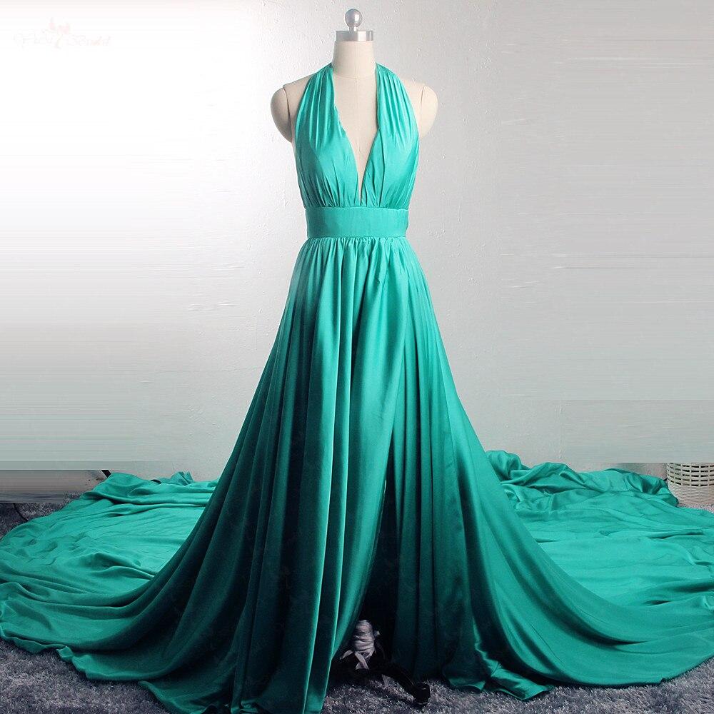 RSE913 Elegant Dress For Travel Photo 3m Long Train Halter Neckline High Open Leg Slit Backless
