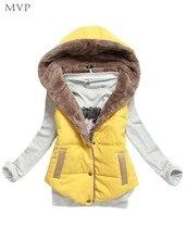 FANALA 2017 Fur Vest Women Autumn Winter Slim Velvet Vest Thermal Down Cotton with a Hood Vest Female all-match Plus Size