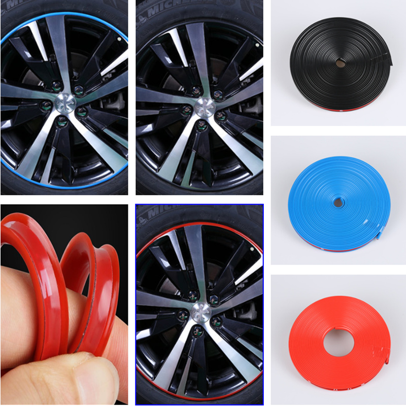 8m Car Wheel Hub Decorative Strip Auto Rim/Tire Protection for Volkswagen VW Golf 4 6 7 GTI Tiguan Passat B5 B6 B7 CC