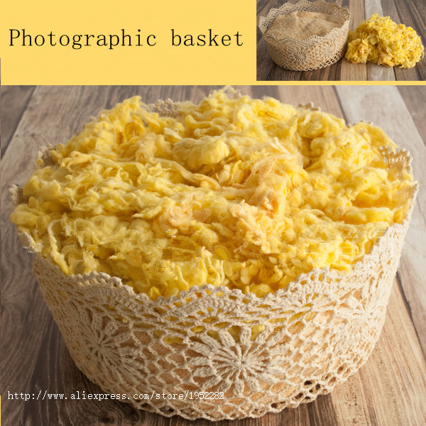 New Creative Photography Prop Handmade Woven Hollow Cotton lace basket for Newborn Baby Photo basket sixty tips for creative iphone photography