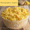 New Creative Photography Prop Handmade Woven Hollow Cotton lace basket for Newborn Baby Photo basket