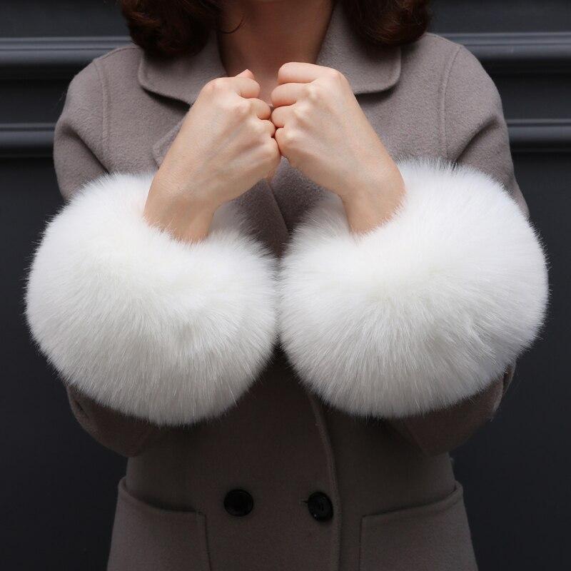 Faux FOX Fur 1Pair Women Winter Wrist Warmer Oversleeve Faux Fur Windproof Arm Bracelet Wristbands Arm Sleeves