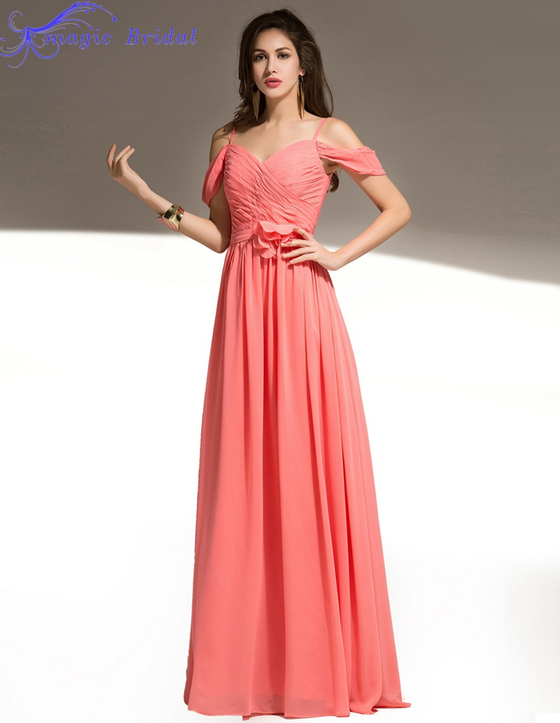 Vestidos De Madrinha Coral Colored Bridesmaid Dresses Chiffon Long ...