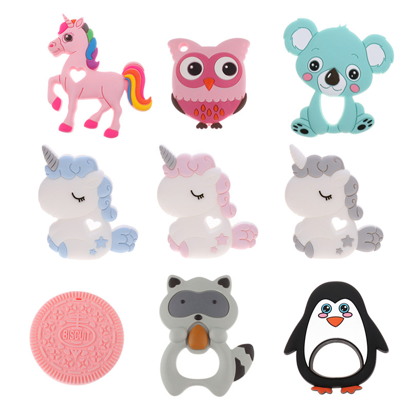 2PCS Unicorn Silicone Baby Teether Koala BPA Free Newborn Teething Necklace Pendant Accessory  DIY  Pacifier Appease Chain Beads