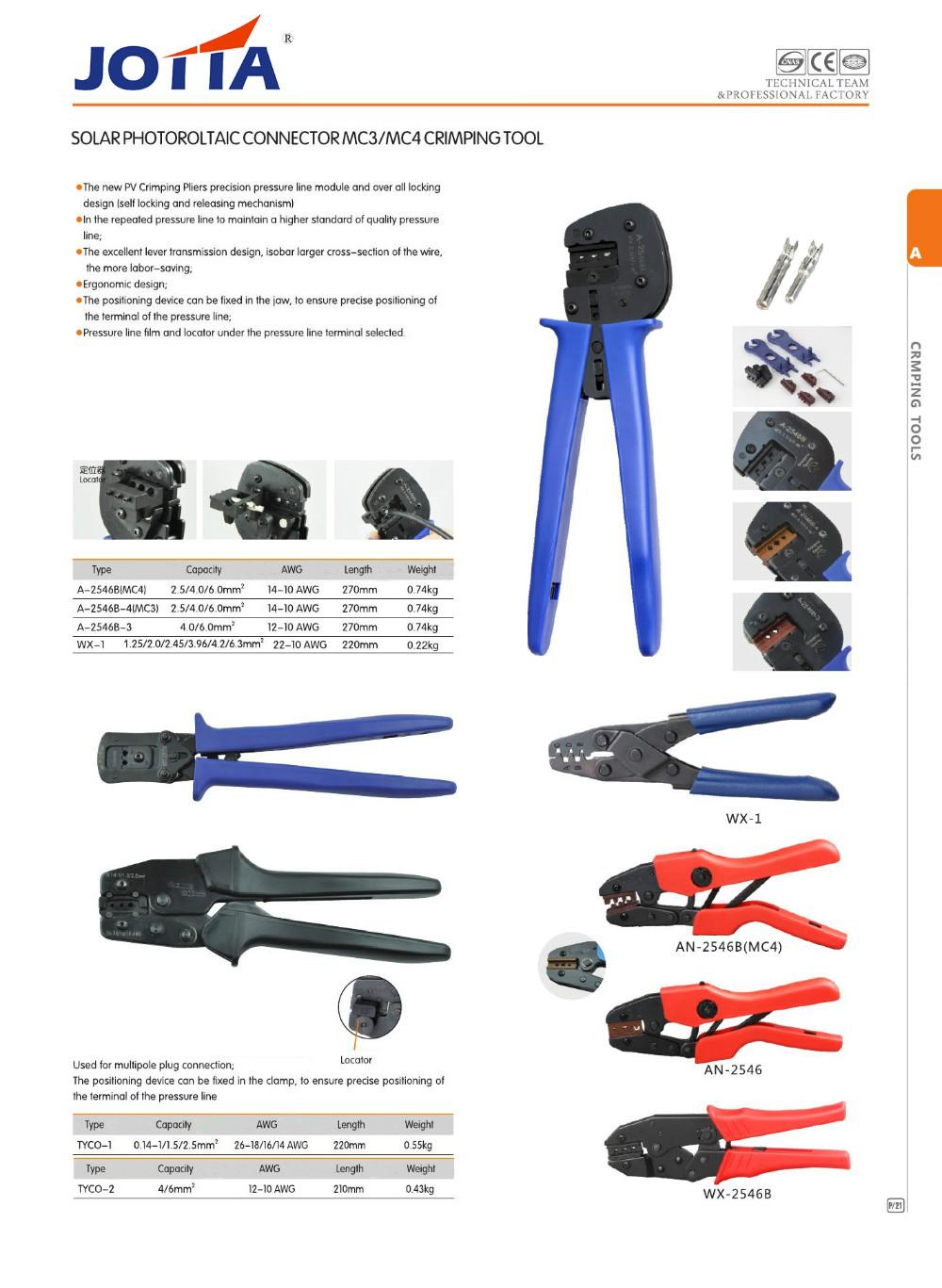 Solar Photoroltaic Connector MC3MC4 Crimping Tool 13B