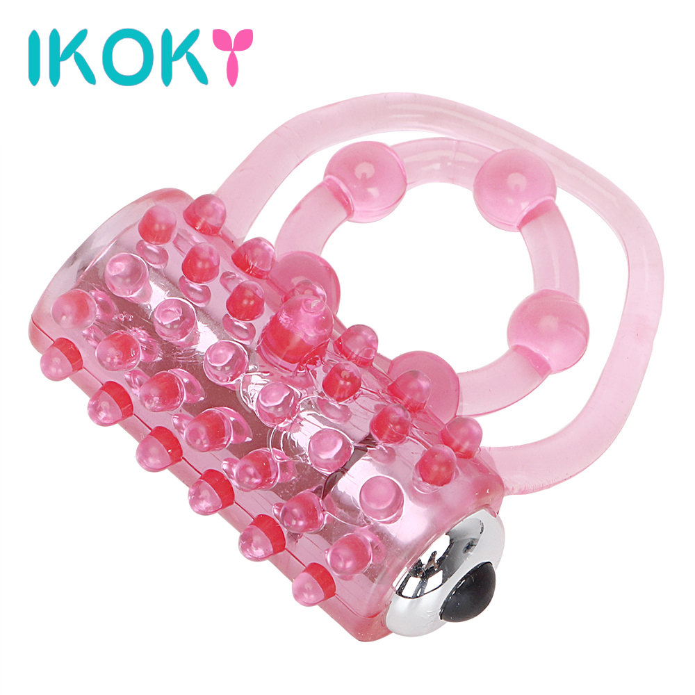 IKOKY Vibrating Penis Rings Vibrators Delay Ejaculation Cock Ring Clitoris Stimulate Passion Enhance Sex Toys Men Silicone