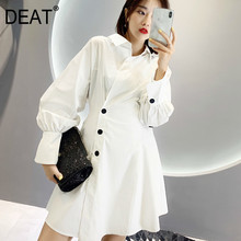 DEAT 2019 new turn-down collar single breasted lantern sleeves buttons high waist white dress female shirt styles WF04300L