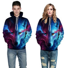 2017 explosions Star wolf 3D digital printing with hood men's sweatershirt  large size lovers baseball men's hooded sweatershirt