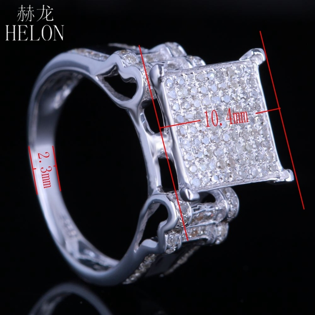 HELON Sterling Silver 925 Pave 0.7ct 100% Genuine Natural Diamonds Engagement Wedding Men Party Trendy Fine Jewelry Classic Ring