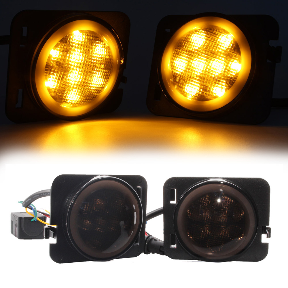 ФОТО New 2pcs/set Front Fender Side Marker LED Light DRL Smoke Lens Turn signal Yellow DRL White for Jeep Wrangler JK 07-15