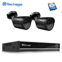 Techage 4CH 5in1 Hybrid AHD DVR Kit 720P Security CCTV System 2PCS 1 0MP Camera Outdoor