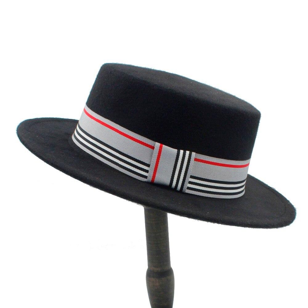 Women Men Wool Flat Homburg Fedora Hat Lady Gentleman Winter Autum Jazz Church Boater Pork Pie Caps Good Package Size 56-58CM