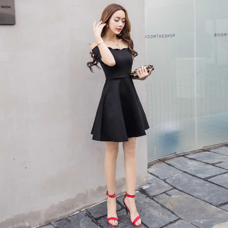 22ec540d00b ... Sexy off shoulder elegant women party dress slash neck short sleeve high  waist slim pleated black ...