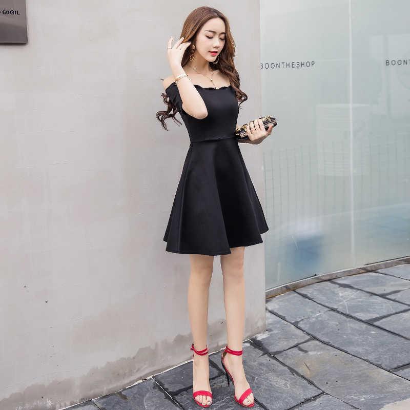 0b42d0d95743e Sexy off shoulder elegant women party dress slash neck short sleeve high  waist slim pleated black Dinner dresses