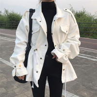 Women jackets winbreaker White top